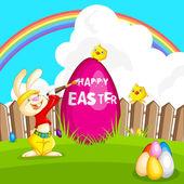 Oeuf de pâques lapin peinture — Vecteur