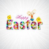 Bunny souhaiter joyeuses pâques — Vecteur