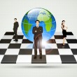 Businesspeople standing around Globe on Chessboard — Stock Vector