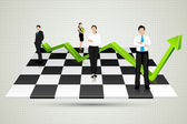 Businesspeople with arrow standing on Chessboard — Stock Vector