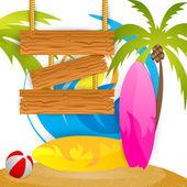 Campamento de verano de surf — Vector de stock