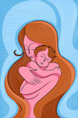 Mother Embracing Child — Stock Vector
