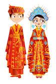 Chinese bruidspaar — Stockvector