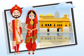 Sikh Wedding Couple — Stock Vector