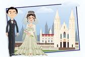 Christian Wedding Couple — Stock Vector