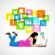 Girl studying on Laptop — Stock Vector #41696365