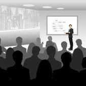 Uomo d'affari dando presentazione — Vettoriale Stock