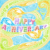 Tiki style Happy Anniversary typography — Stock Vector