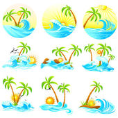 Waves with Palm Tree — Stock Vector