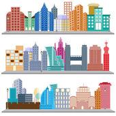 Cityscape with skyscraper building — Stock Vector