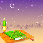 Koran in Happy Eid background — Stock Vector
