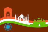 India background with Monument and Building — Stock Vector