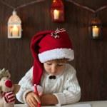 Little boy on christmas, writing letter to Santa — Stock Photo