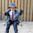 Boy, dressed with suit and tie, posing — Stock Photo