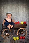 Ragazzo in un carrello con le mele — Foto Stock