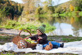 Autumn outdoor portrait of a little boy — Foto Stock