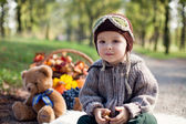 Boy with a picnic basket — Stock Photo