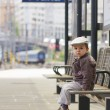 Boy on a central railway station — Stock Photo