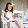Little girl with white dress — Stock Photo