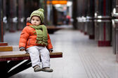 Little boy in a subway station — Stock Photo