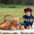 Stock Photo: Little boy on picnic