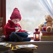 Boy, writing letter to Santa — Stock Photo #36813527