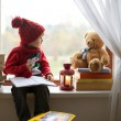 Boy, writing letter to Santa — Stock Photo
