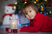 Little boy on christmas — 图库照片