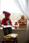 Boy, writing letter to Santa — Stock Photo