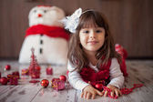 Little girl on christmas — Foto Stock