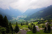 Village view in Swetzerland on a foggy day from above — Stock Photo