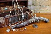 Old Pirate Gun with Treasure — Stock Photo