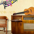 Stock Photo: Vintage Radio with Basket Chair and Music Icons.