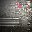 Bench and Candelabra in Christmas time — Stock Photo