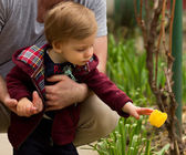 Father and Son with Flower — Stock Photo
