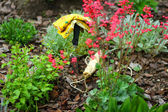 Garden Tools in Next to Red Flowers in Garden — ストック写真