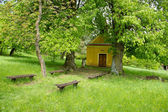 Chapel Under The Big Lime-Trees and Benches — Stock Photo