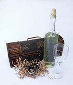 Decorative Wooden Vine Hutch with Bottle of White Vine and Vine  — Stock Photo