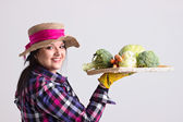 Happy Garden Woman with Tray of Vegetables — Stock Photo