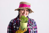 Smiling Woman in Leghorn and Gardening Clothes — Foto de Stock