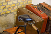 Vintage Bicycle with Travel Suitcases — Stock Photo