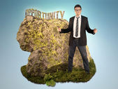 Bussinessman is Sculpting a Word Opportunity — Stock Photo