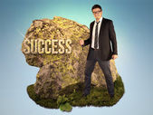Bussinessman is Sculpting a Word Success — Stock Photo