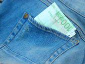 Jeans Shorts with 100 Euro Bank Bill in Pocket — Stock Photo