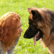 German shepherd with girl — Stock Photo