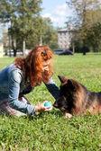 German shepherd with girl — Stock Photo