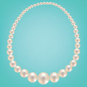 Pearl necklace on turquoise background — Stock Vector