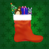 Christmas stocking with gifts and toys — Stock Vector