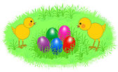 Easter chickens — Stock Vector