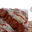 Pizza overlapped taken in three shots — Stock Photo